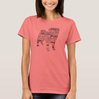 Colagem da palavra do Pug T-shirts
