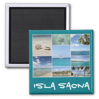 Colagem das caraíbas cénico da foto de Isla Saona Ímã Quadrado