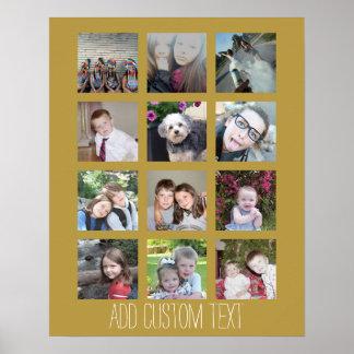 Colagem de 12 fotos com fundo do ouro poster