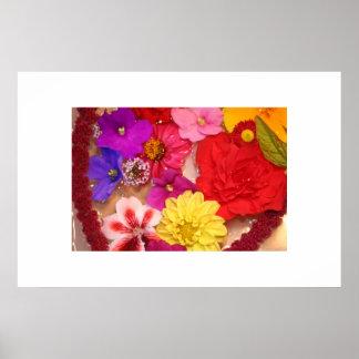 Colagem de flutuação do coração da flor impressão