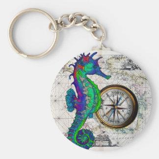 Colagem do compasso do cavalo marinho chaveiro