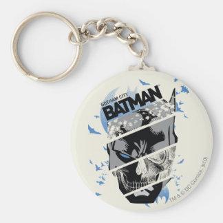 Colagem do crânio de Batman da cidade de Gotham Chaveiro
