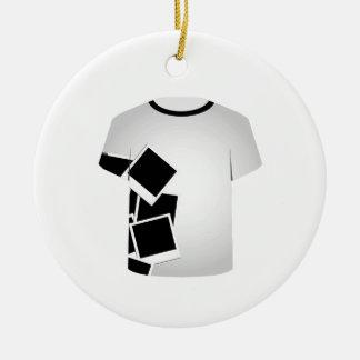 Colagem do Modelo-Polaroid da camisa de T Ornamento De Cerâmica Redondo
