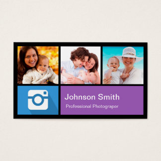 Colagem do quadro da foto do fotógrafo - estilo do cartão de visitas