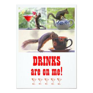 Colagem engraçada da foto do esquilo customizável convite personalizado