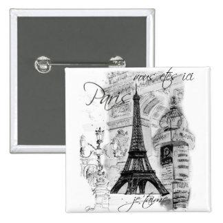 Colagem francesa da cena da torre Eiffel de Paris Bóton Quadrado 5.08cm