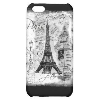 Colagem francesa da cena da torre Eiffel de Paris Capa Para iPhone5C