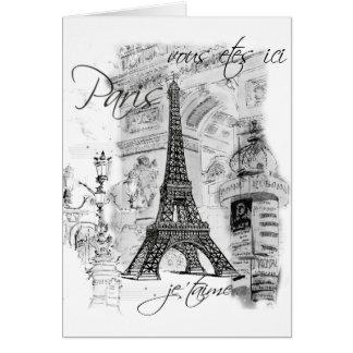Colagem francesa da cena da torre Eiffel de Paris Cartões