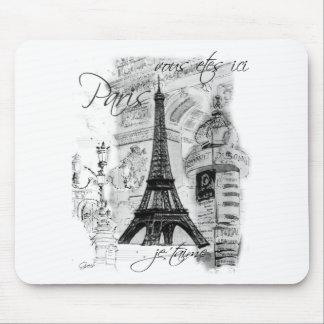 Colagem francesa da cena da torre Eiffel de Paris Mouse Pad