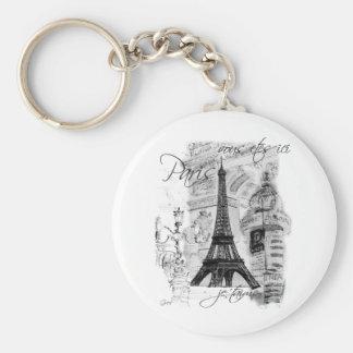 Colagem francesa da cena da torre Eiffel de Paris Chaveiros