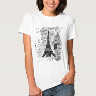 Colagem francesa da cena da torre Eiffel de Paris Tshirts