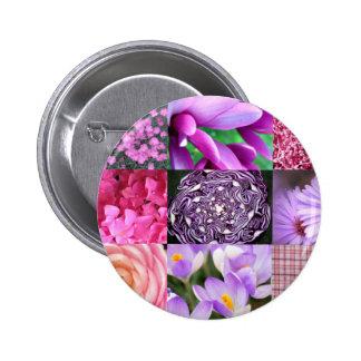 Colagem roxa/cor-de-rosa da foto bóton redondo 5.08cm