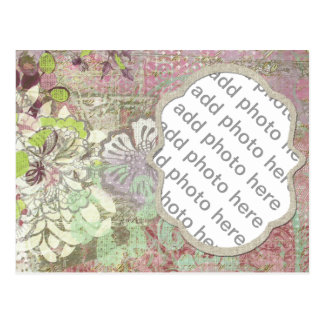 Colagem roxa quadro textured da foto cartão postal
