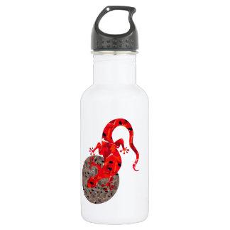 Colagem vermelha do lagarto garrafa de aço inoxidável