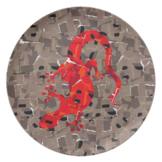 Colagem vermelha do lagarto prato