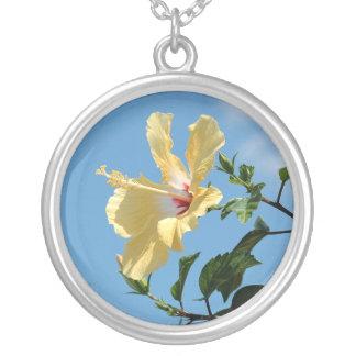 Colar amarela animador da flor do hibiscus