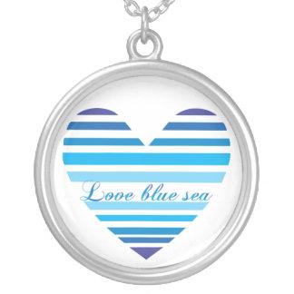 Colar azul da forma do coração do mar do amor