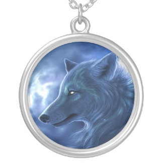 Colar azul místico de prata do lobo de NecklaceSte