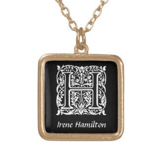 Colar Banhado A Ouro Inicial decorativa do monograma da letra H