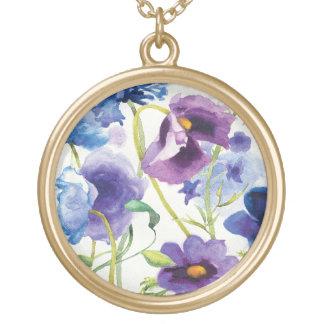 Colar Banhado A Ouro Jardim misturado azul e roxo