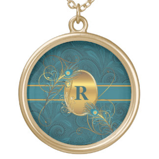 Colar Banhado A Ouro Pavão Monogrammed em penas da cerceta e do ouro