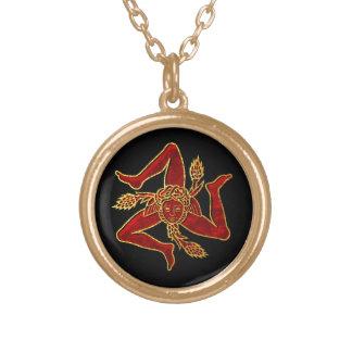 Colar Banhado A Ouro Trinacria siciliano no ouro vermelho