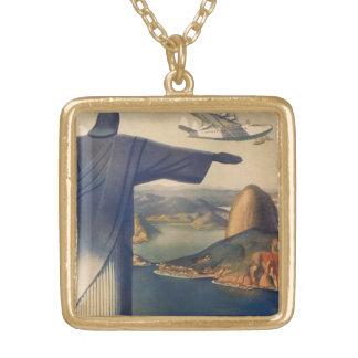 Colar Banhado A Ouro Vintage Rio de Janeiro, cristo a estátua do