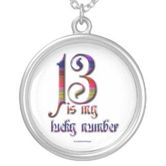 Colar Banhado A Prata 13 são meu número-coloridos afortunado
