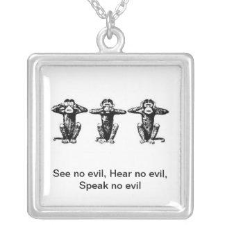Colar Banhado A Prata 3 macacos