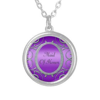 Colar Banhado A Prata A prata metálica romance roxa enrola o casamento