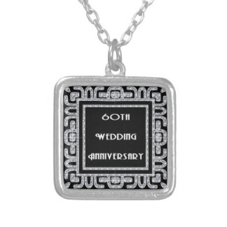 Colar Banhado A Prata Aniversário de casamento do jubileu de diamante