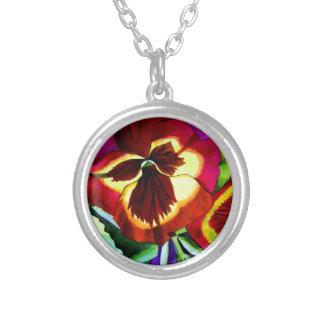 Colar Banhado A Prata Arte vermelha do original da flor da aguarela dos