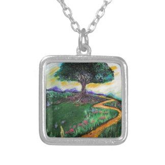 Colar Banhado A Prata Árvore da imaginação