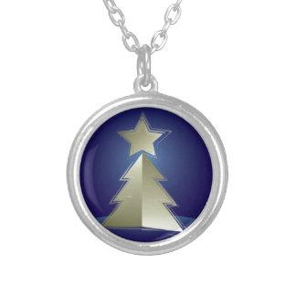 Colar Banhado A Prata Árvore de Natal dourada