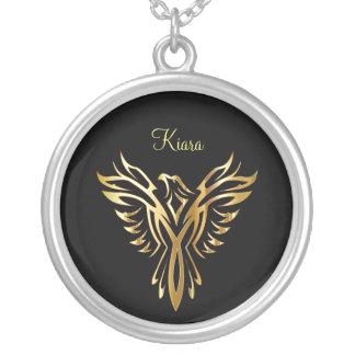 Colar Banhado A Prata Ascensão dourada flamejante de phoenix