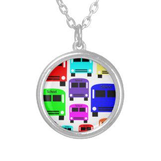 Colar Banhado A Prata auto escolares do arco-íris