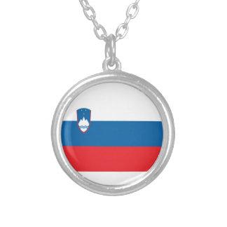 Colar Banhado A Prata Baixo custo! Bandeira de Slovenia