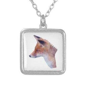 Colar Banhado A Prata Baixo Fox poli