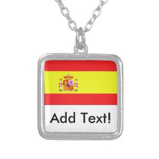 Colar Banhado A Prata Bandeira da espanha