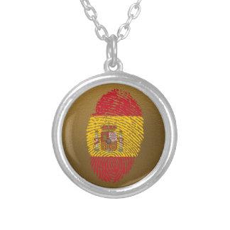 Colar Banhado A Prata Bandeira da impressão digital do toque do espanhol