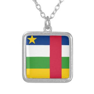 Colar Banhado A Prata Bandeira de Central African Republic
