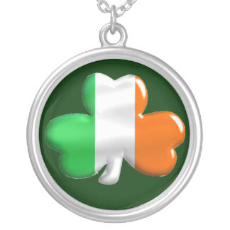Colar Banhado A Prata Bandeira irlandesa do trevo do trevo