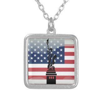 Colar Banhado A Prata Bandeira lustrosa dos Estados Unidos
