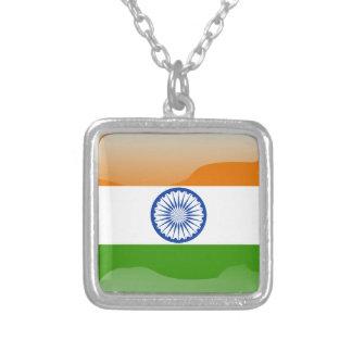 Colar Banhado A Prata Bandeira lustrosa indiana