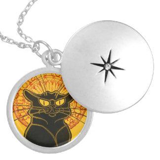 Colar Banhado A Prata Bate-papo Steinlen Noir de Nouveau da arte do gato