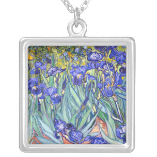 Colar Banhado A Prata Belas artes florais do vintage das íris de Vincent