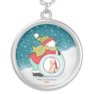 Colar Banhado A Prata Boneco de neve do Natal dos bebês feitos sob