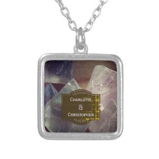 Colar Banhado A Prata Casamento personalizado pedra preciosa da fluorite