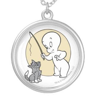 Colar Banhado A Prata Casper e gatinho