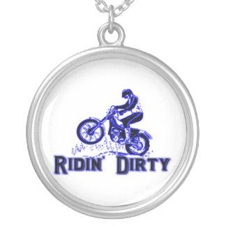 Colar Banhado A Prata Cavaleiro sujo da bicicleta da sujeira de Ridin